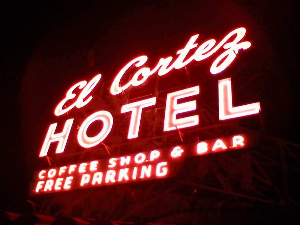 What the classic El Cortez sign looks like from the roof. shhhh.... pic ECG