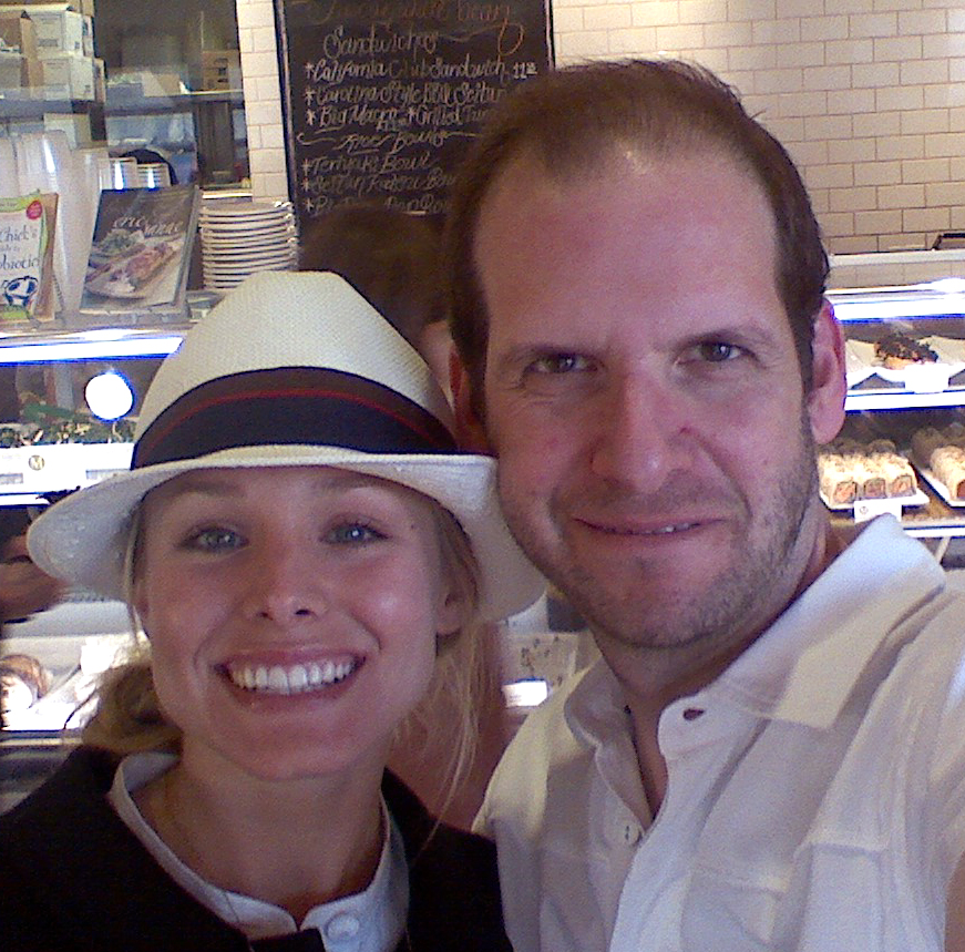 With Kristin Bell at Chaya Cafe, Melrose, no makeup (on me, anyway) :)