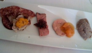 Fresh charcuterie and pate presentation