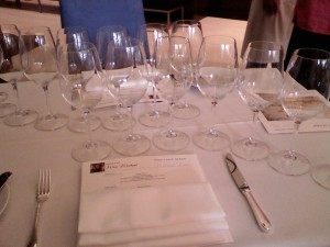 Oh Lordy. This is the array of glasses that greeted us at the very first event.