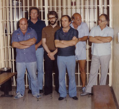 "The ""Hole In The Wall Gang"" under arrest. Cullotta is at far right."