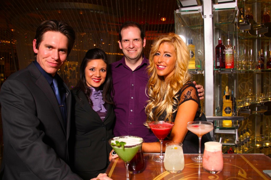 With The Cosmopolitan of Las Vegas' Master Mixologists Andrew Pollard, Kristin Schaffer and Mariena Mercer/ photo: Eri Ita