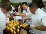 Caesars Mixologist Eddie Perales, overdoing it, as is his style ;) These were lemon meringue coolers, I believe.