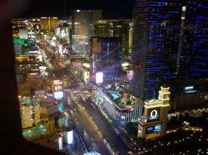 Strip view from atop the Paris Las Vegas replica Eiffel Tower