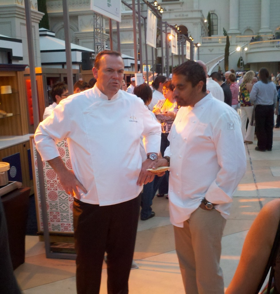 Chefs Charlie Palmer and Michael Mina, actually hanging out and talking NOT for the cameras.