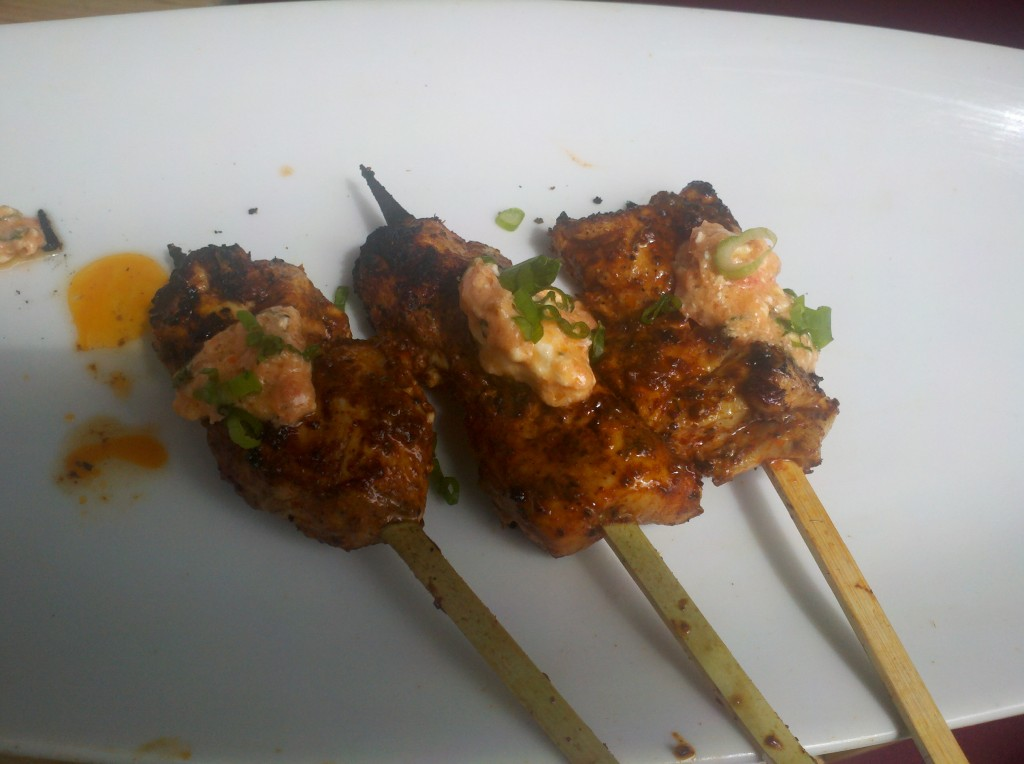 Spicy Peruvian chicken skewers from Mo Chica. Mo, mo, mo.