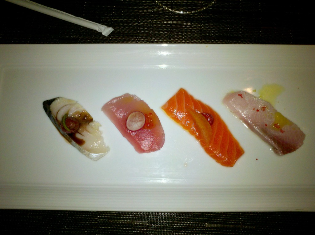 Crudo sampling, from left: oily, unagi-like Spanish mackerel with roasted grapes, rosemary, 25yr Balsamic; jelly-soft Albacore with breakfast radish, smoked trout caviar; firm sweet Tasmanian sea trout with Fresno chili, orange, white soy; tart,creamy hamachi with pink peppercorns, Calif. olive oil, lemon and sea salt