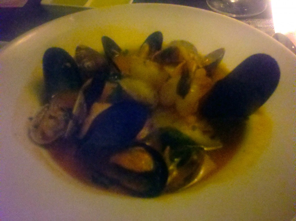 lousy picture of a practically perfect bouilliabaise (mussels, clams, shrimp, local snapper)