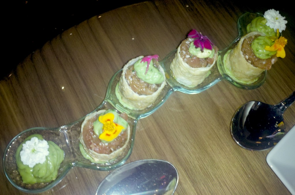 Ahi tuna rolls with edible flowers: pretty. yummy.